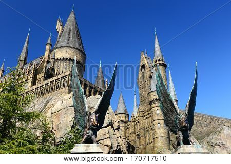 Osaka, Japan - Oct 30, 2016: The Wizarding World of Harry Potter in Universal Studios Japan. Universal Studios Japan is a theme park in Osaka, Japan.The phylum of the pig eagle