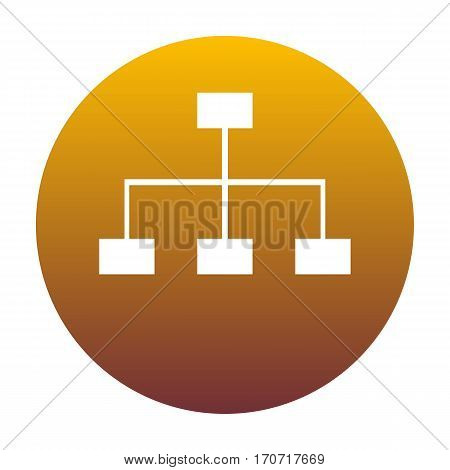 Site map sign. White icon in circle with golden gradient as background. Isolated.