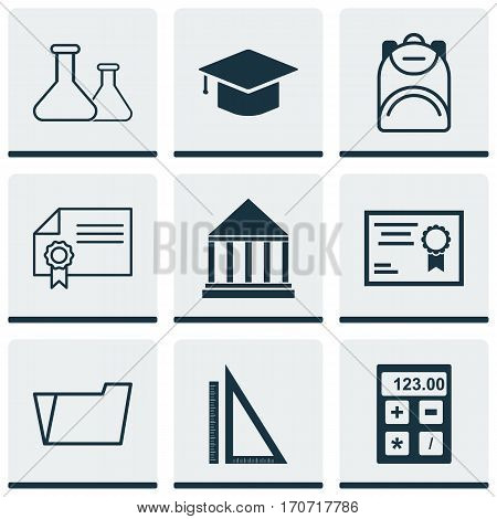 Set Of 9 School Icons. Includes Certificate, Graduation, Diploma And Other Symbols. Beautiful Design Elements.