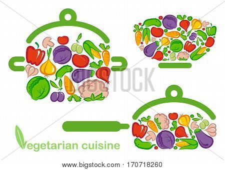 Vegetables in the form of salad bowls, pots and pans