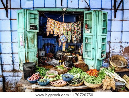 fruit shop in the streets of Jodhpur the blue city