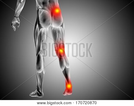 Conceptual 3D illustration of human man anatomy lower body health design, joint articular pain, ache injury on gray background for medical fitness medicine bone care, hurt, osteoporosis arthritis body