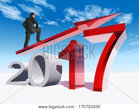 Conceptual 3D illustration human man businessman standing over an red 2017 year symbol with an arrow on blue sky background for economy growth future finance progress success improvement profit design