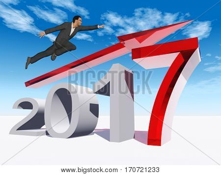 Conceptual 3D illustration human, man businessman flying  over an red 2017 year symbol with an arrow on blue sky background for economy growth future finance progress success improvement profit design