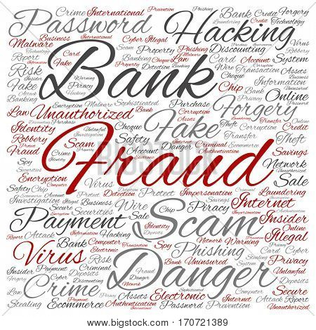 Concept or conceptual bank fraud payment scam danger square word cloud isolated on background metaphor to password hacking, virus fake authentication crime, illegal transaction identity theft