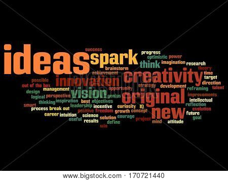 Concept or conceptual creative new ideas or brainstorming abstract word cloud isolated on background metaphor to spark, creativity, original, innovation, vision, think, achievement, smart genius