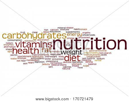 Concept or conceptual nutrition health or diet abstract word cloud isolated on background metaphor to carbohydrates, vitamins, fat, weight, energy, antioxidants beauty medicine, mineral, protein