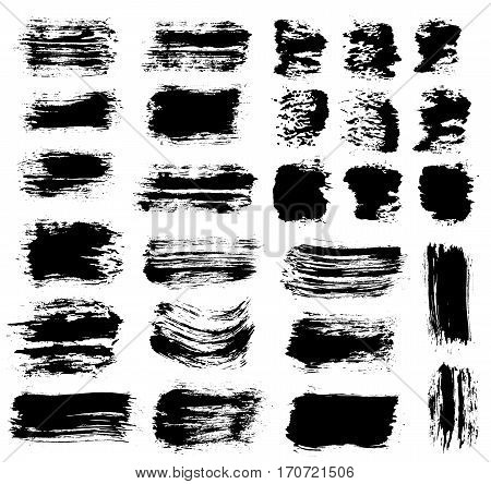 Grunge paint vector. Painted brush strokes. Texture text box set. Distress backgrounds. Hand drawn banner, label, frame shapes. Black textured design elements. Grungy scratch effect.