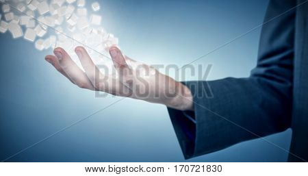 Cropped image of businessman offering against purple vignette 3d