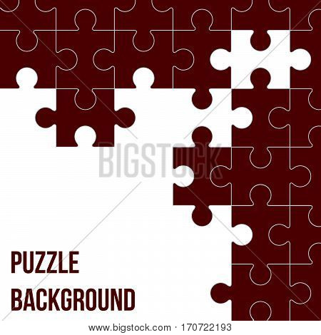 Vector Abstract white background made from colored puzzle pieces and place for your content