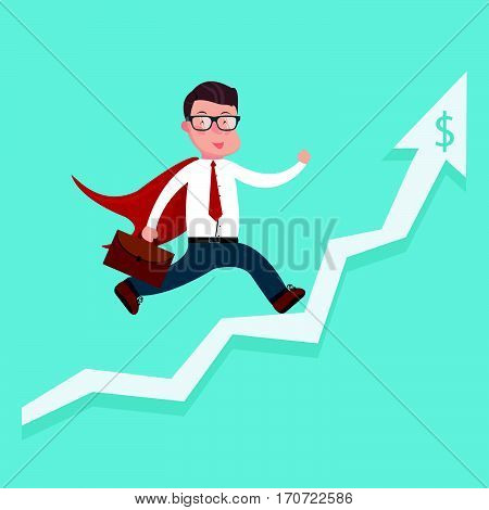 Cheerful businessman running along the growth graph. Happy businessman going up. Man moving up. Successful business concept. Vector flat design illustration. Horizontal layout.