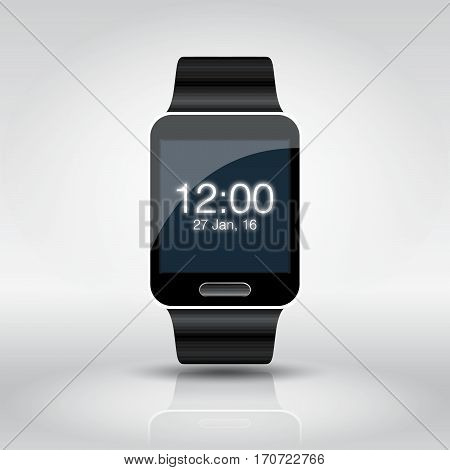 Smart watch isolated on white. Watch icon on smart watch screen.