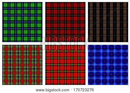 Lumberjack Tartan and Buffalo Check Plaid Patterns in Red Black White and Khaki. Trendy Hipster Style Backgrounds. Vector EPS File Pattern Swatches made with Global Colors.