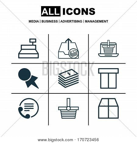 Set Of 9 Ecommerce Icons. Includes Box, Dollar Banknote, Till And Other Symbols. Beautiful Design Elements.