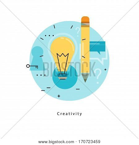 Content management icon. Writing articles, news, internet blogging, consulting, copywriting flat line business vector illustration banner for mobile and web graphics