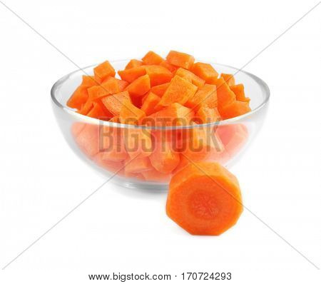 Carrot slice in bowl on white background