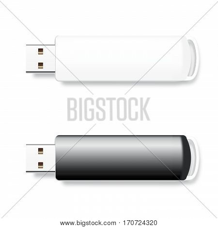 Vector isolated USB pen drives, black and white flash disks
