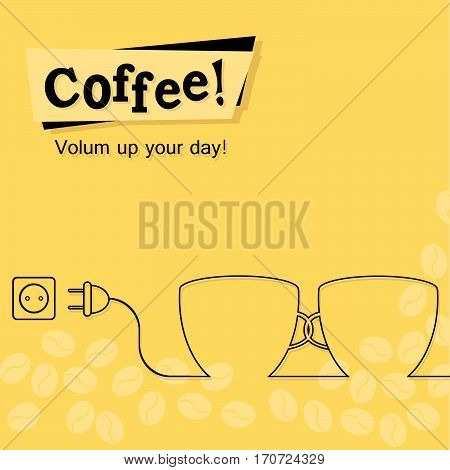 Vector flat bright colored coffee banner or poster design with text message, icons of coffee seeds, grains, two cups of coffee, different coffee sorts. Modern design concept. Vector illustration.