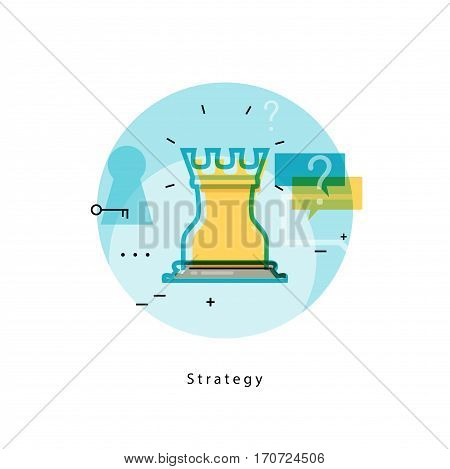Chess rook icon for strategic planning and business strategy. Flat line business vector illustration banner for mobile and web graphics