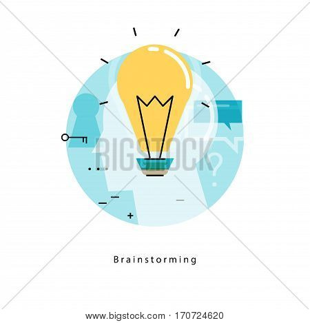 Brainstorming flat line business vector illustration design banner. Creative thinking, analysis, education, research, business idea background. Light bulb design for for mobile and web graphics