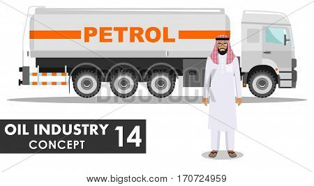 Detailed illustration of gasoline truck and arab man in flat style on white background.