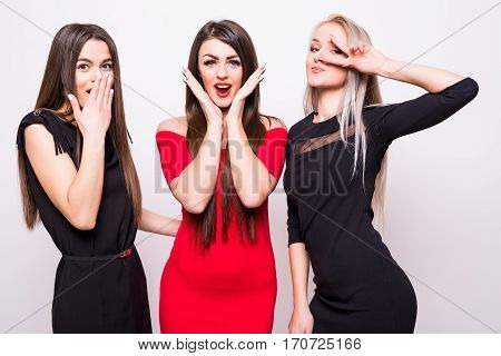 Three Fashion Models In  Night Dresses Have Fun On Camera.