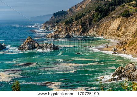 USA Pacific coast landscape, Julia Pfeiffer Burns State Park, California.