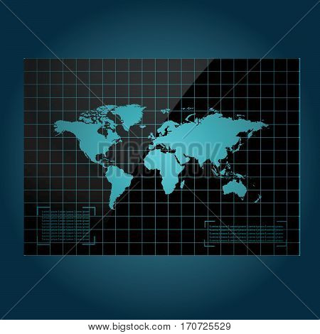 World map vector illustration. World map on techno futuristic background