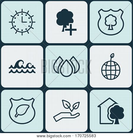 Set Of 9 Ecology Icons. Includes Aqua, Save World, Timber And Other Symbols. Beautiful Design Elements.