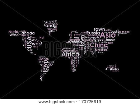 World map vector illustration on white background. World map: countries in wordcloud