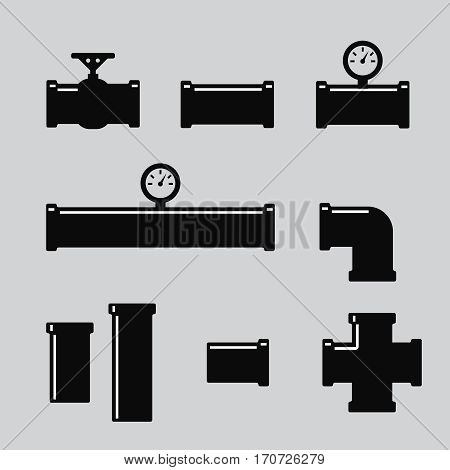Pipe fittings vector icons set. Tube industry construction pipeline drain system. Pipe fittings vector