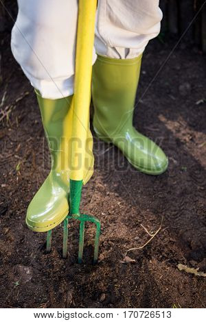 Low section of female gardener standing with gardening fork at farm