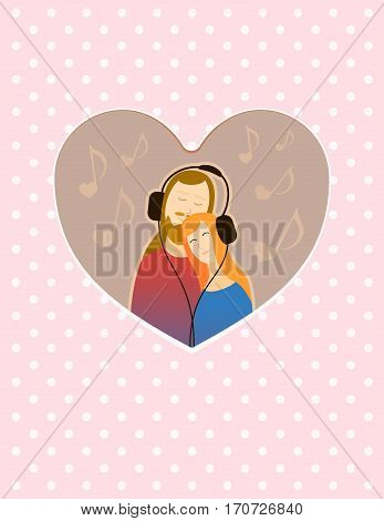 Couple of lovers feeling lovely in Valentine's Day with headphones music greetings card