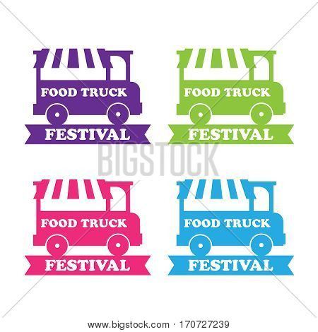 Food truck festival emblems and logos. Food truck vector