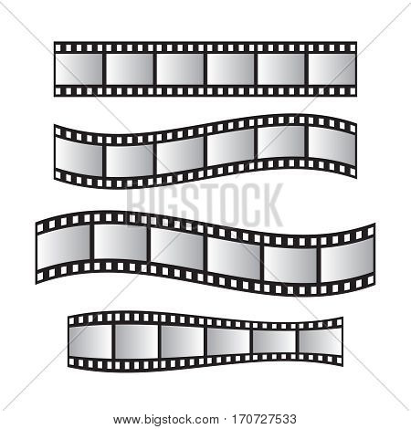 Film roll film 35mm slide film frame set. Film roll vector