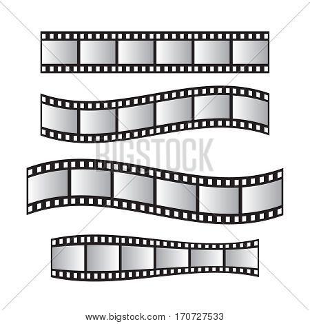 Film roll film 35mm slide film frame set. Film roll vector