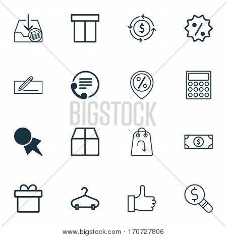 Set Of 16 E-Commerce Icons. Includes Buck, Box, Refund And Other Symbols. Beautiful Design Elements.