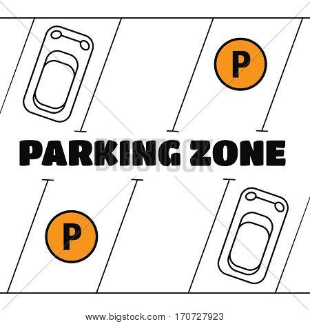 Park with parking places parking zone. Parking zone vector