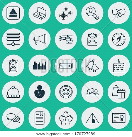 Set Of 25 Universal Editable Icons. Can Be Used For Web, Mobile And App Design. Includes Elements Such As Society, Grouped Bar Charts, Ringer And More.