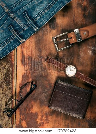 Various business objects on the wood table