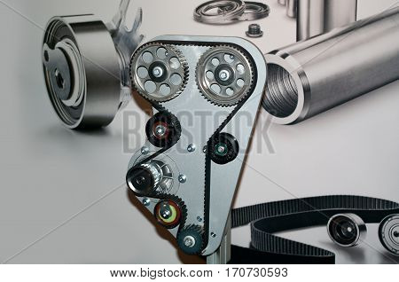 Multi ribbed system of an internal combustion engine. Auto parts - Timing belt, pulleys and gears.