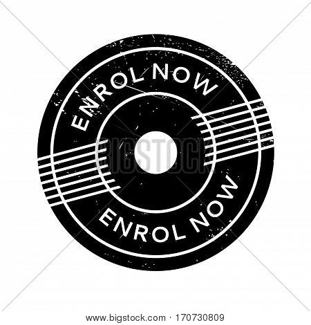 Enrol Now rubber stamp. Grunge design with dust scratches. Effects can be easily removed for a clean, crisp look. Color is easily changed.