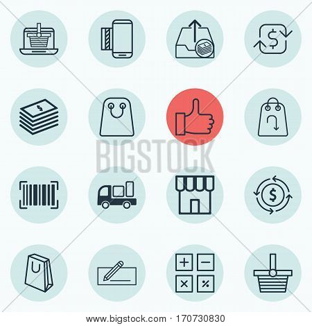 Set Of 16 Commerce Icons. Includes Outgoing Earnings, Refund, Tote Bag And Other Symbols. Beautiful Design Elements.
