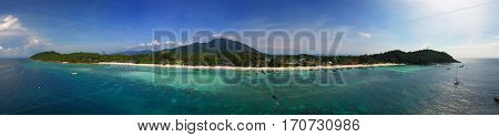 Aerial panorama view on tropical Ko Lipe island in the Andaman Sea, Thailand