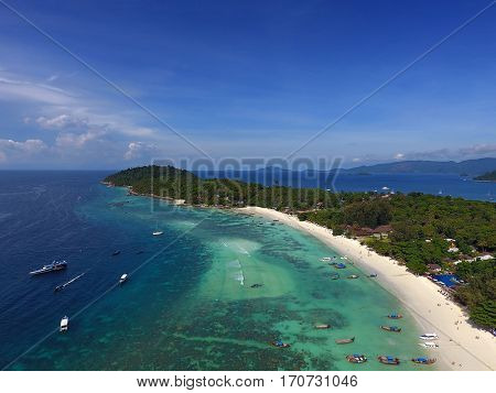 Aerial view on tropical Ko Lipe island in the Andaman Sea, Thailand
