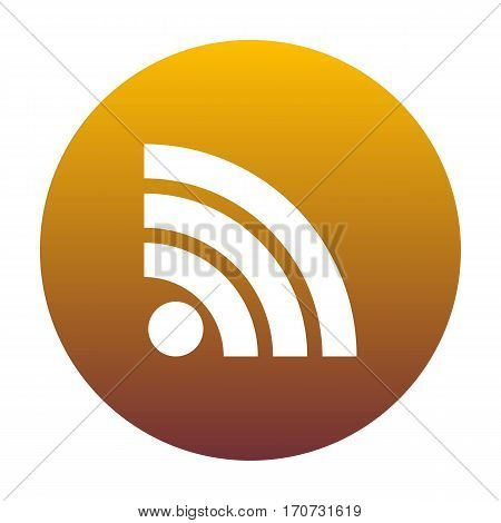RSS sign illustration. White icon in circle with golden gradient as background. Isolated.