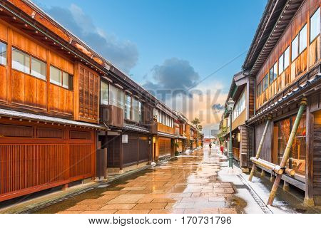 Kanazawa, Japan at  the historic Nishi Chaya District in the winter.