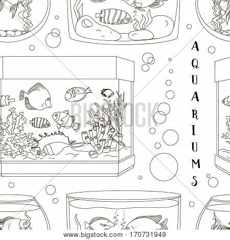 Glass Aquarium Set pattern. Different Form for Interior Home. Set of Fish and blue water.