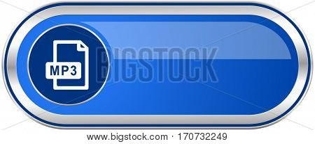 Mp3 file long blue web and mobile apps banner isolated on white background.