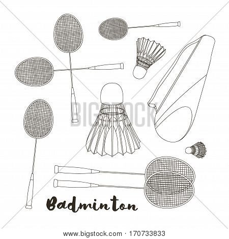 Badminton labels and icons set. Vector illustration, EPS 10